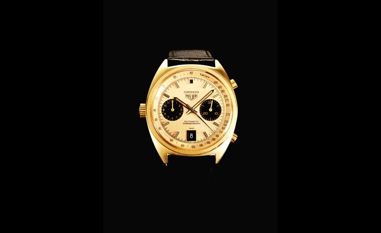 Bonham's Lot 96. A fine 1972 Heuer 18ct gold Carrera automatic chronograph that sold for £22,800, estimate was £7,000 to £9,000
