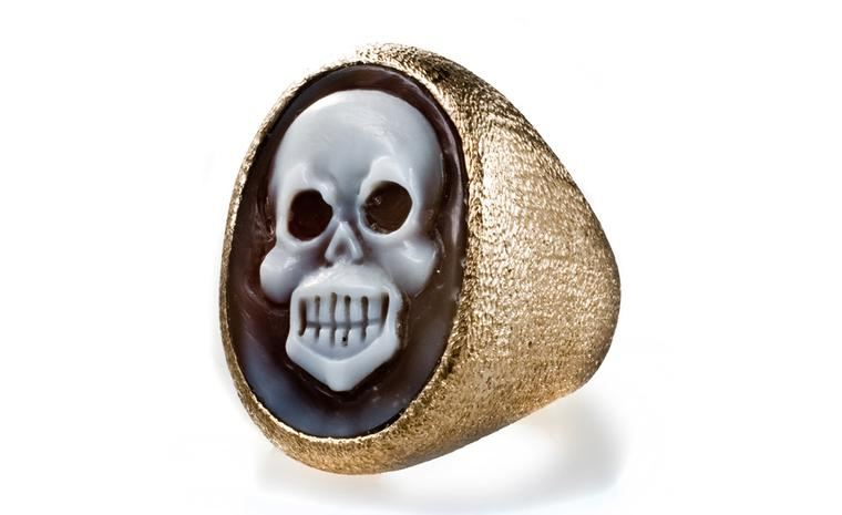 Amedeo Skull cameo ring carved from sardonyx shell set in bronze, £2,070