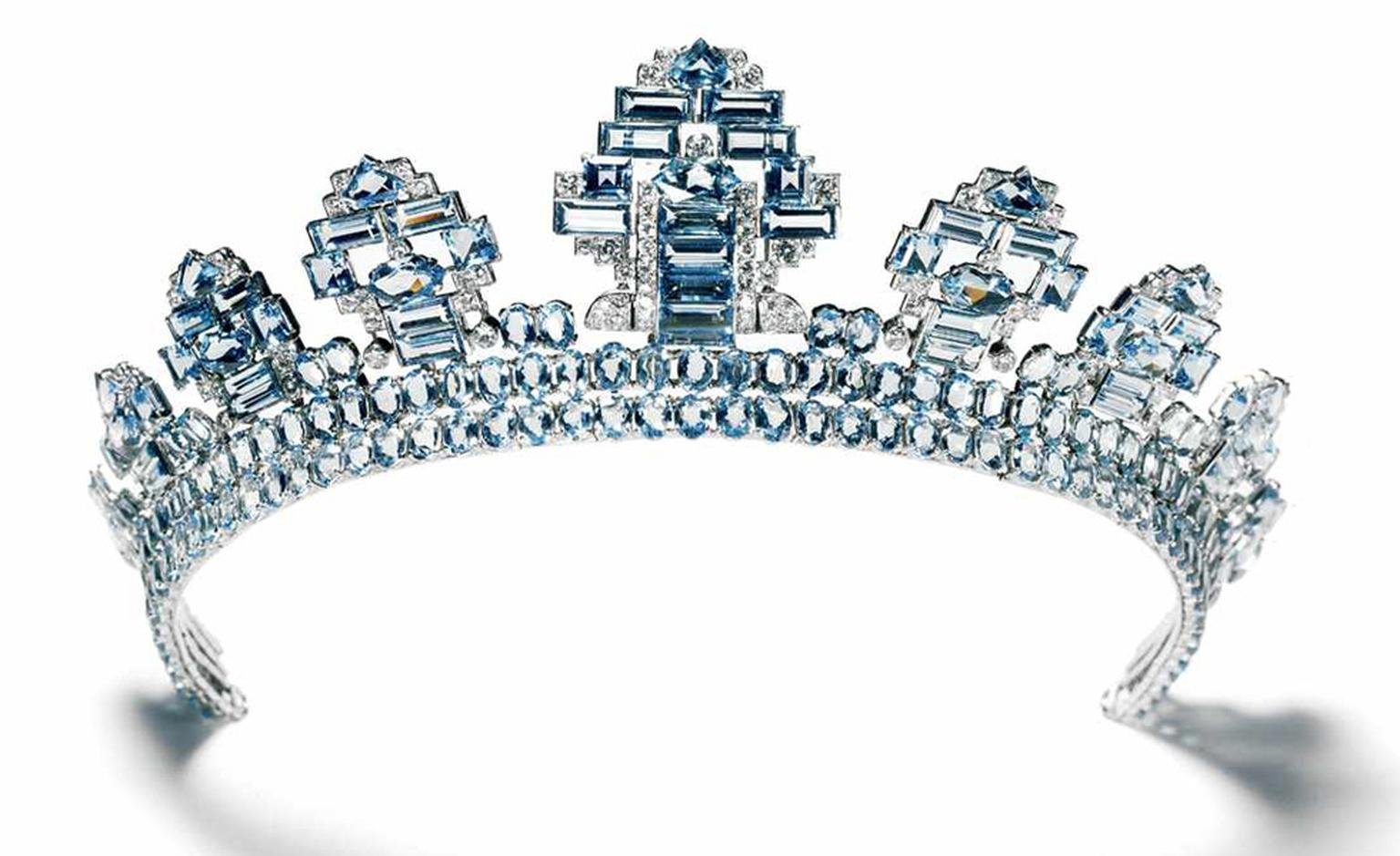Cartier London Aquamarine and Diamond tiara, one of the 27 tiaras that Cartier made that year, most of which were worn at the 1937 coronation. Photo-N.Welsh