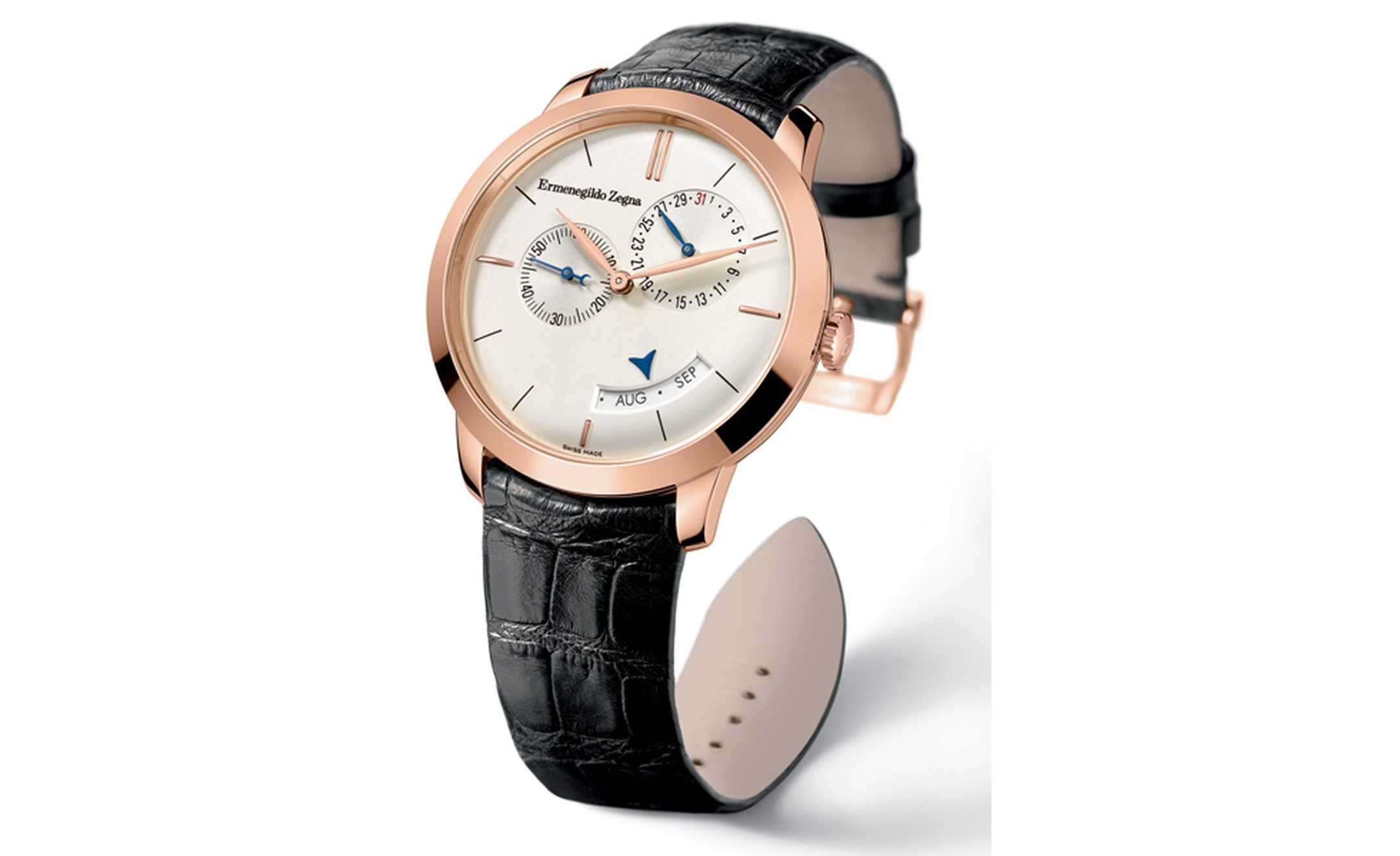 Girard Perregaux for Ermenegildo Zegna Centennial annual calendar in pink gold and limited to 100 pieces