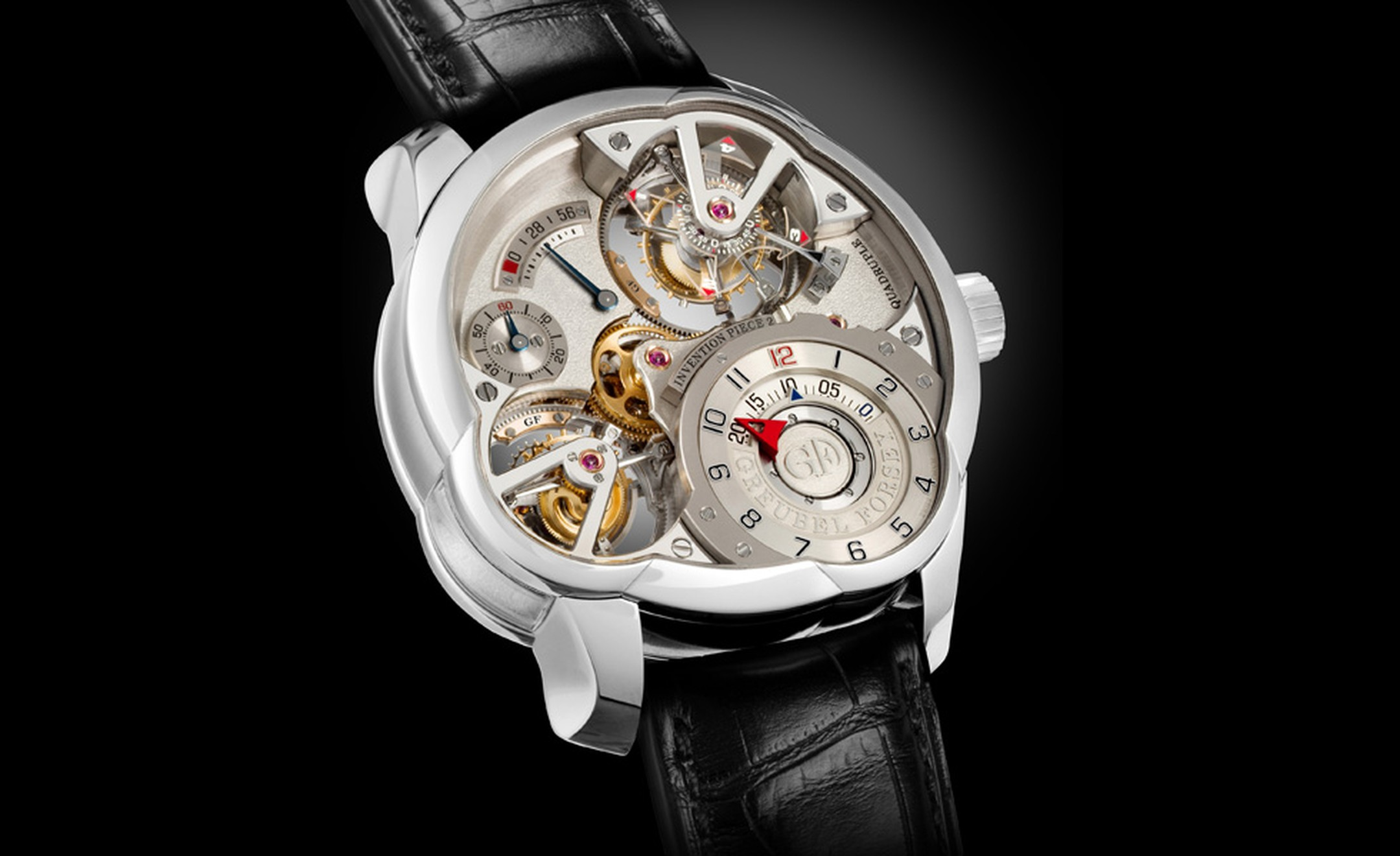 Greubel Forsey Invention Piece 2 with quadruple tourbillon consisting of two double tourbillons and limited to just 11 pieces in platinum and 11 in red gold.