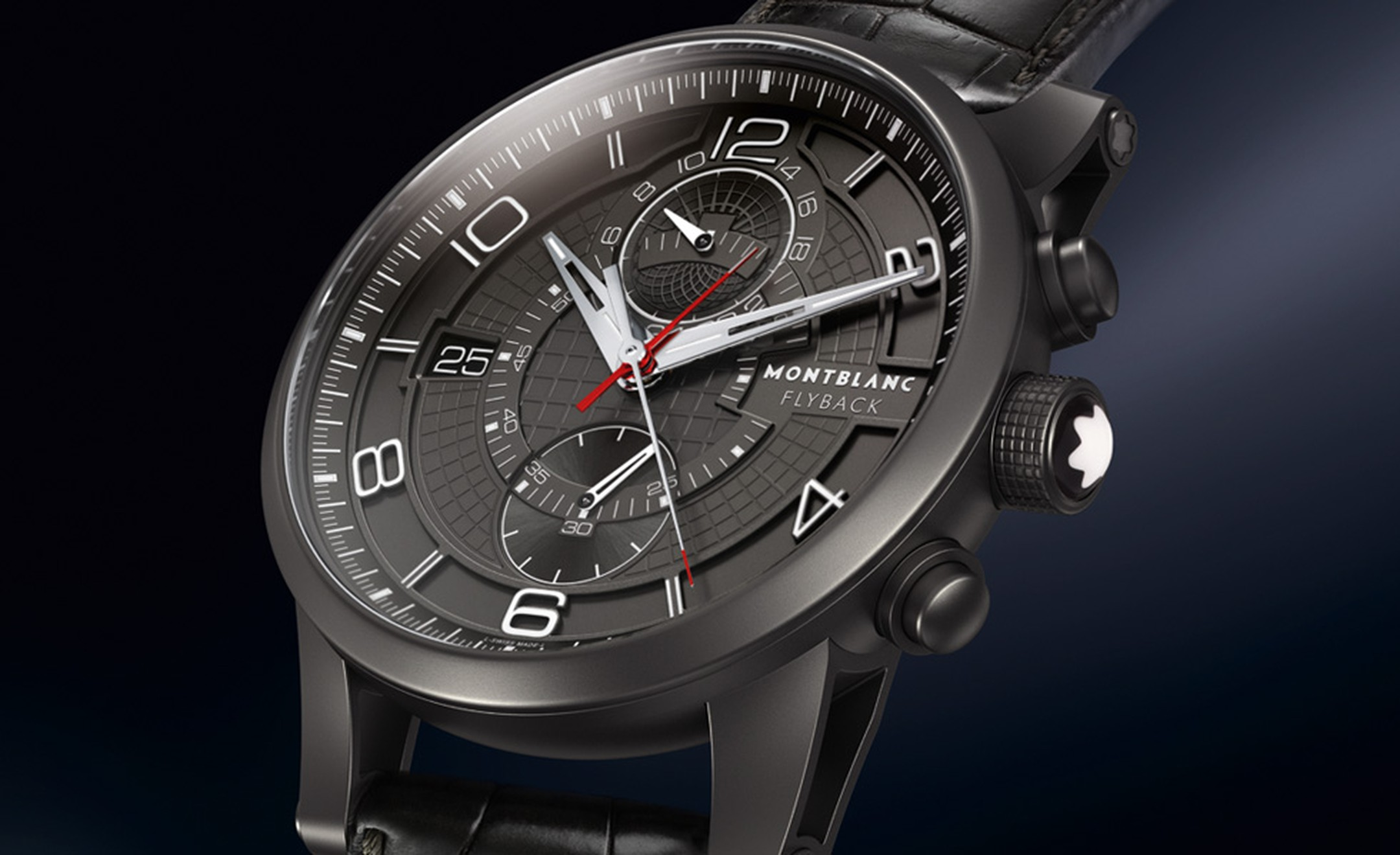 Montblanc TimeWalker TwinFly chronograph in minimalist black DLC with in-house manufactured Calibre MBLL100