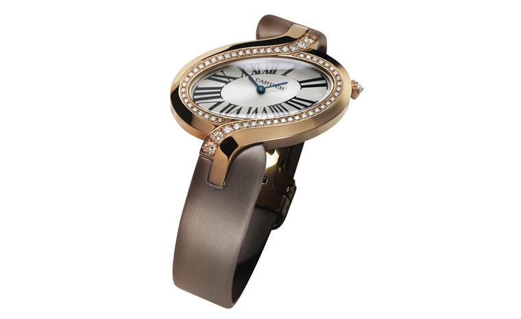 Délices de Cartier in pink gold with diamonds on a brushed canvas strap. The combination of pink gold and the warm beige strap is my favourite. Photo: Studio Dielemen Cartier 2010