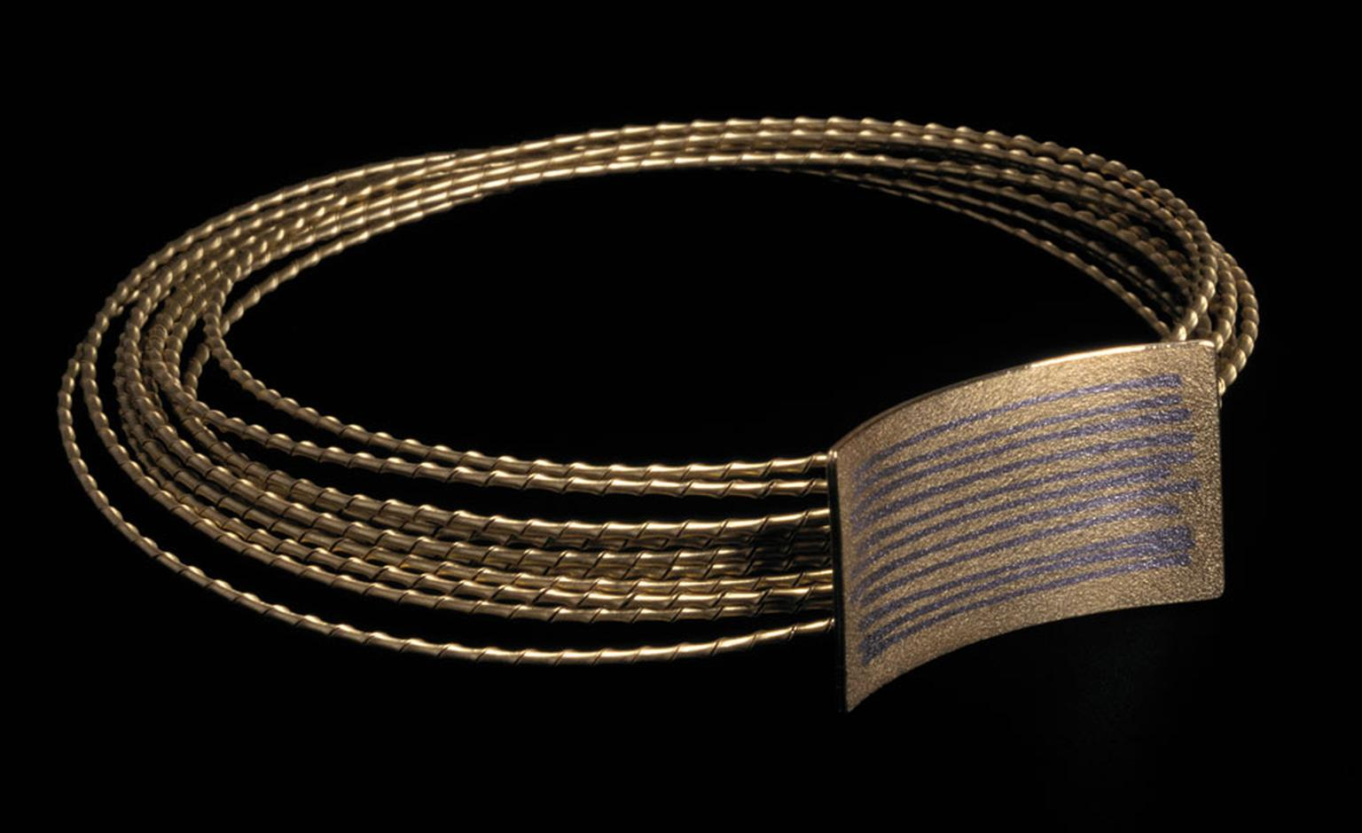 Jacqueline Mina necklace from 2004 in 18 carat gold with platinum wire fusion inlay and nine rows of 18 carat gold striptwist. Photo: Neil Mason