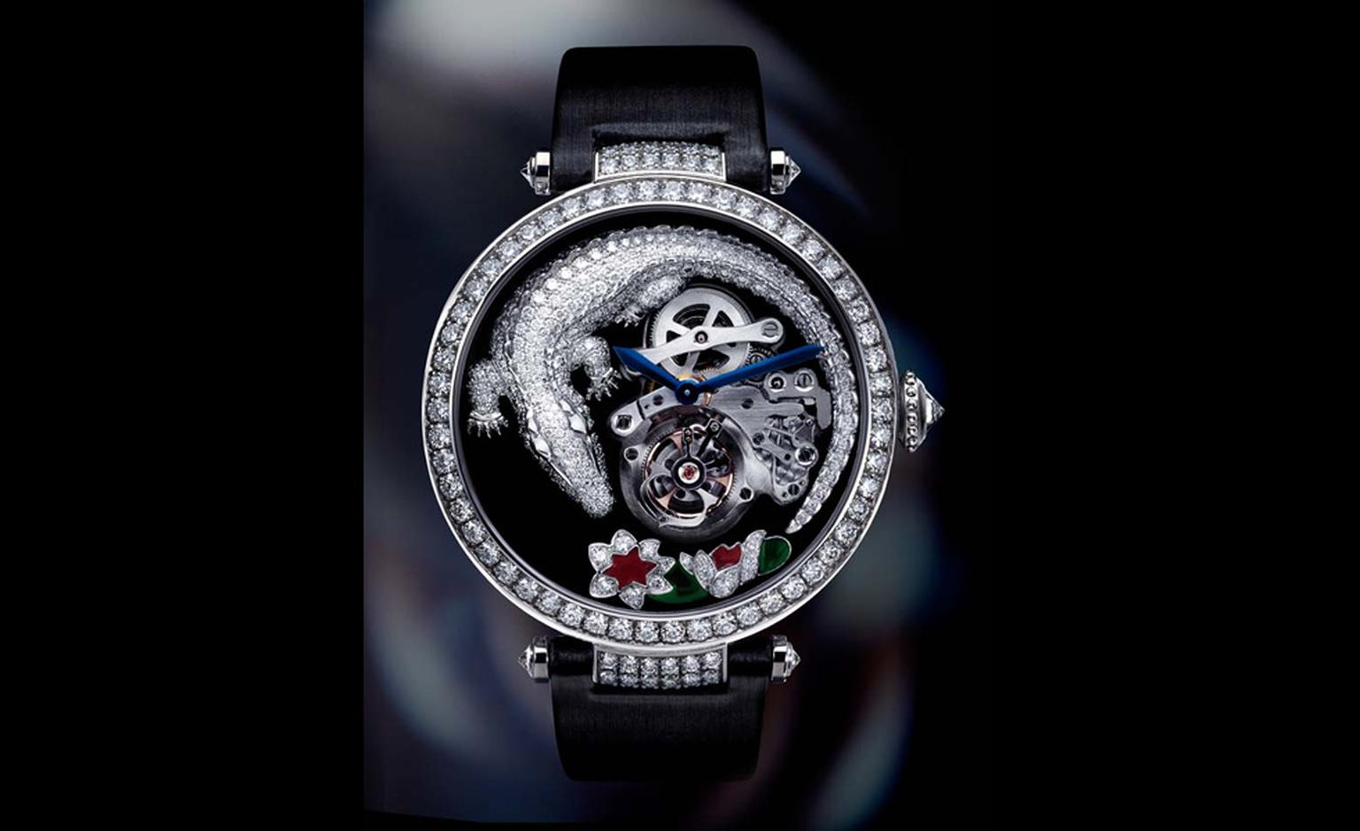 Cartier's Crocodile tourbillon watch in white gold with diamonds. Crocodile motifs were first used at Cartier following a commission from the Mexican film diva María Félix for a crocodile necklace.