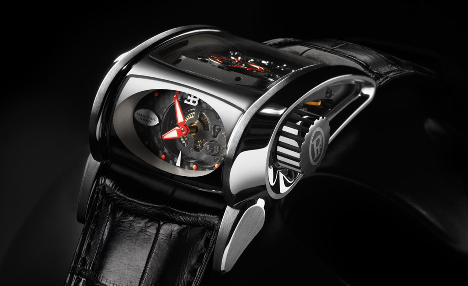 Time is read off the side of the case on the Parmigiani Fleurier Bugatti Super Sport, so no need to take your hands off the wheel to glance at the time