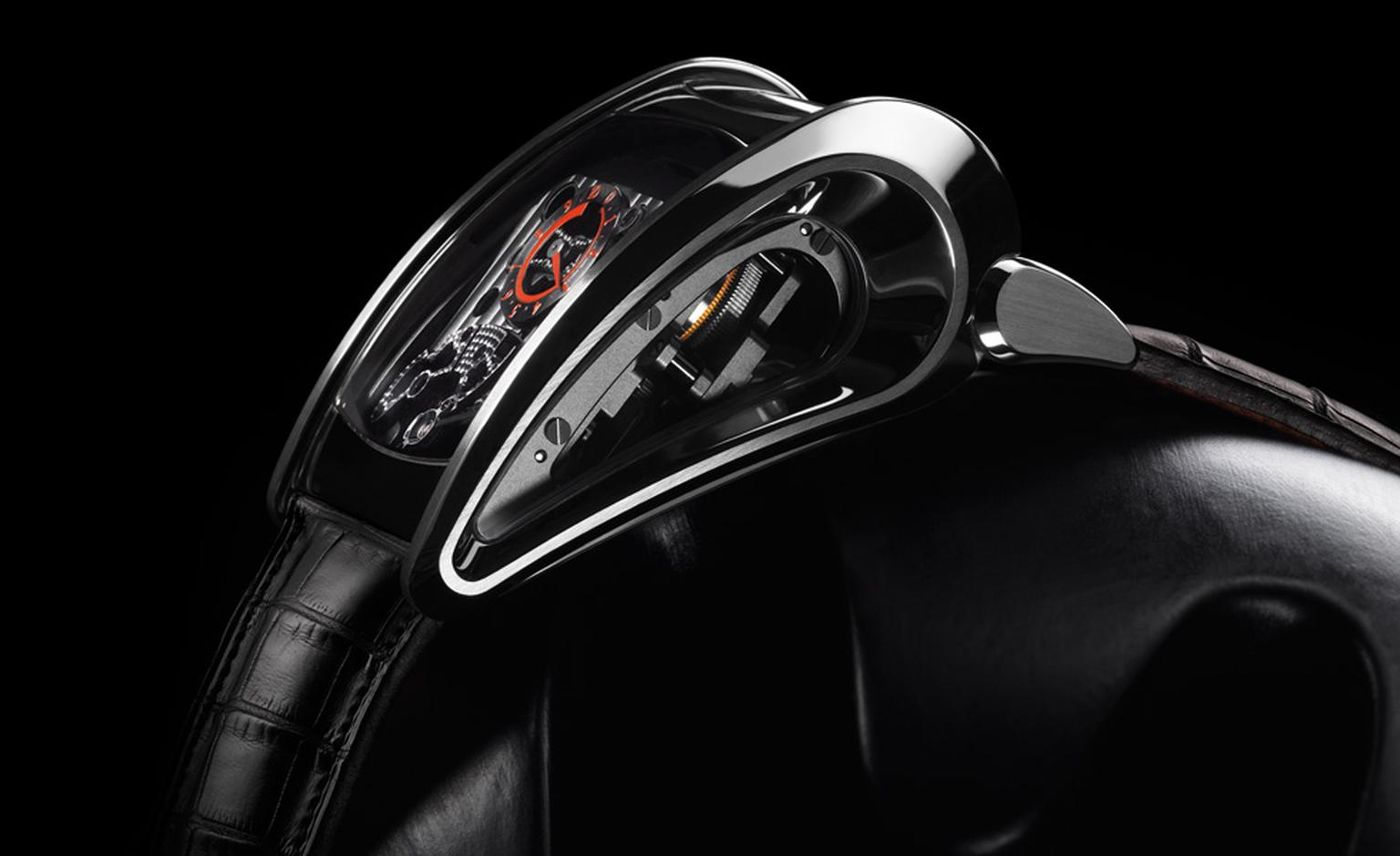 Profile of the Parmigiani Fleurier Bugatti Super Sport watch that is all stealth curves and made for speed.