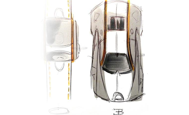 Sketch of the Bugatti Veyron Super Sport car. Both the case shape and components of the watch are clearly inspired by the car.