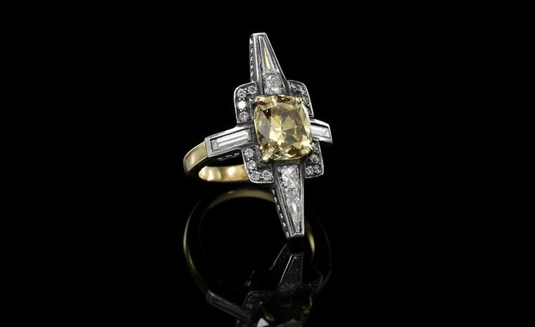 Jessica McCormck, 'Pride' diamond, 18k yellow gold and silver ring, from the XIV collection  Set at the centre with a cushion-shaped diamond weighing 3.66 carats of Natural Fancy Deep Brownish Yellow. POA