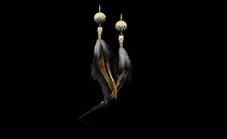 Jessica McCormack, 'Sloth' diamond and yellow gold pendant earrings, from the XIV collection.Total diamond weight 3.79 carats. £23,000