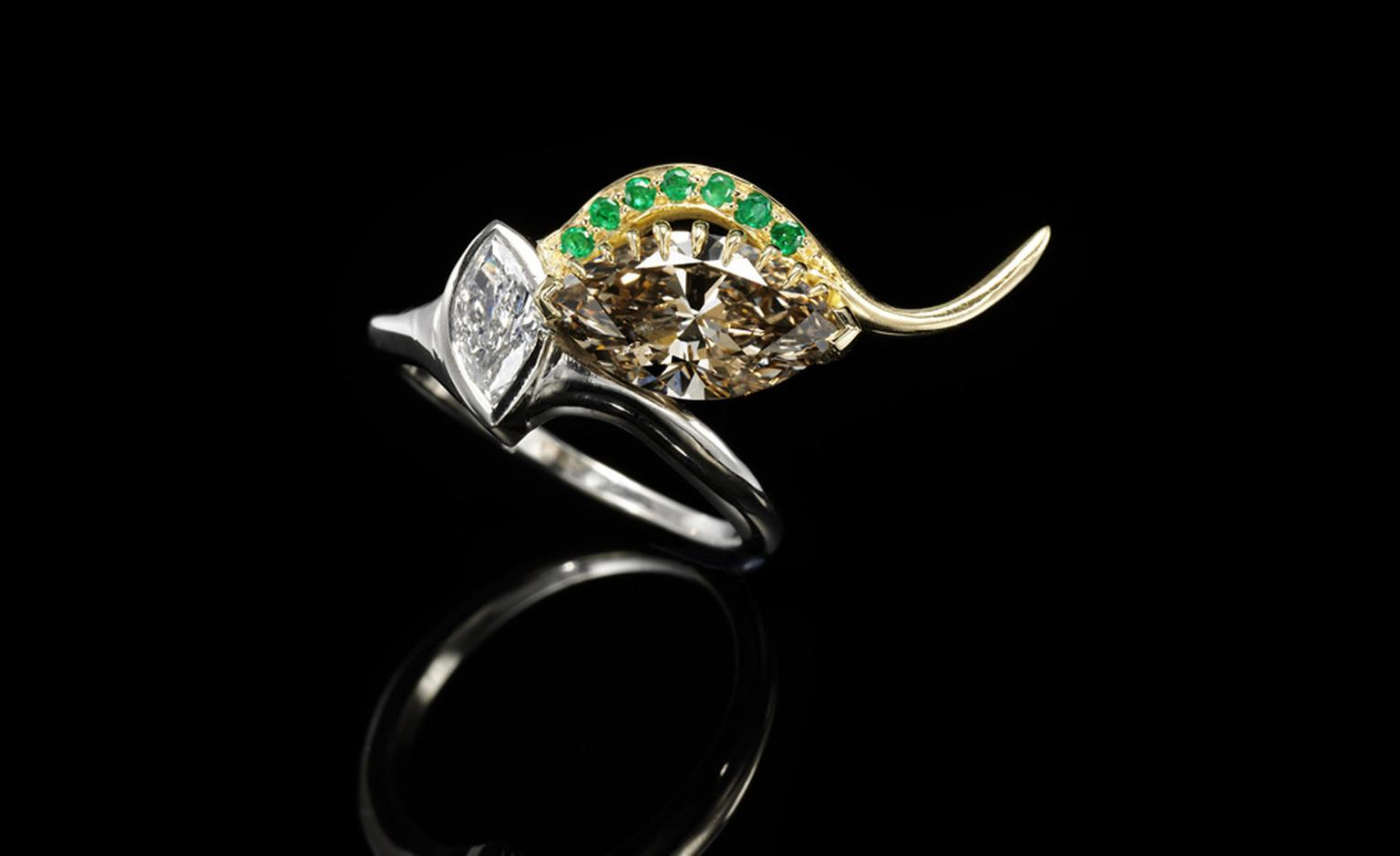 Jessica McCormack, 'Envy' diamond, 18k yellow and white gold ring, from the XIV collection, set with a marquise-shaped diamond weighing 2.28 carats. £23,500