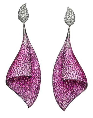Adler Titanium And Pink Sapphire 'Sail ' Earrings ZOOM