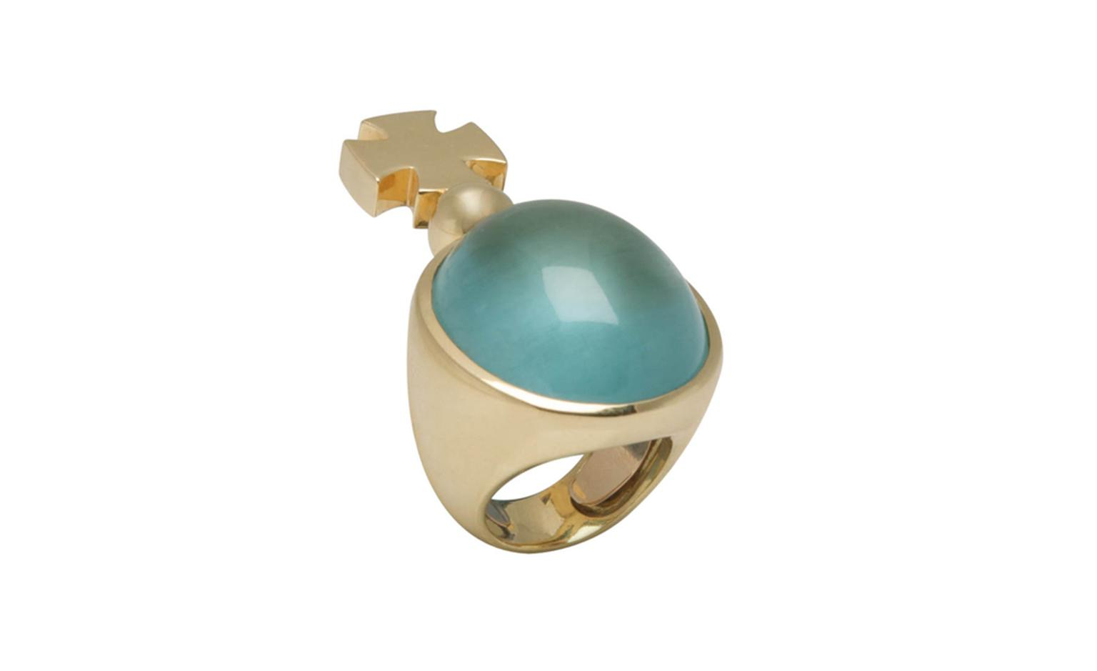 Noor Fares, Cross motif aquamarine cabochon ring in yellow gold.  Special Collection POA
