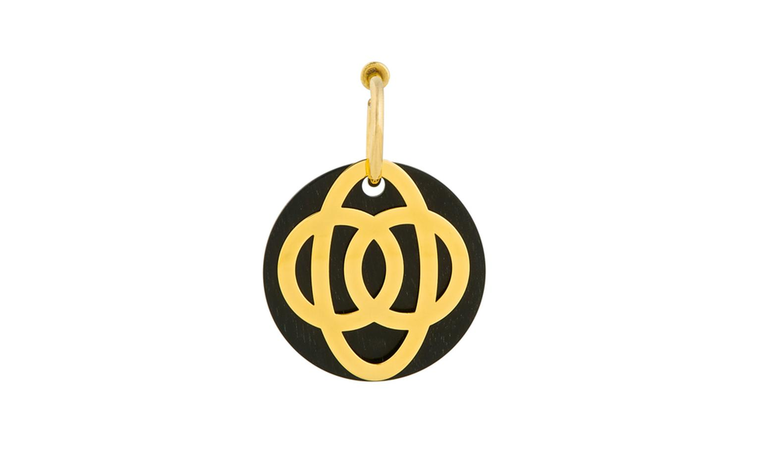 Noor Fares, U-Tube earrings with Happiness element, yellow gold, diamonds and ebony.  £1,720