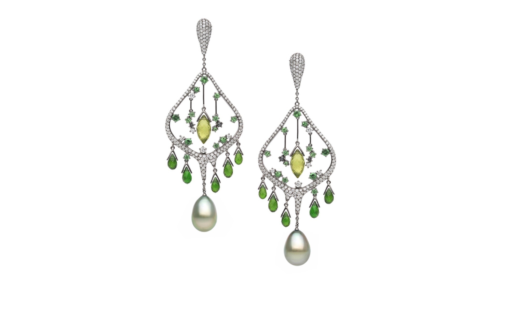 Autore, Fire & Ice Advent of Spring earrings in white gold, with Tahitian South Sea pearls, tsavorite garnets, chrome diopside, peridot and black and white diamonds. $62,000 AUD