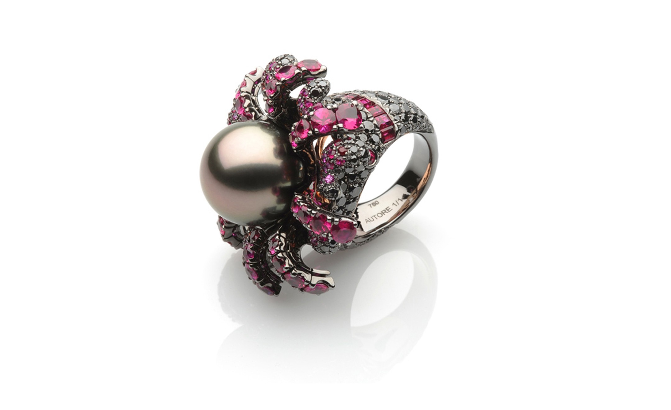 Autore, Fire & Ice Cooling Volcano ring in white gold, with black rhodium and rose gold, Tahitian South Sea pearls, rubies, orange sapphires and black diamonds. $50,000 AUD