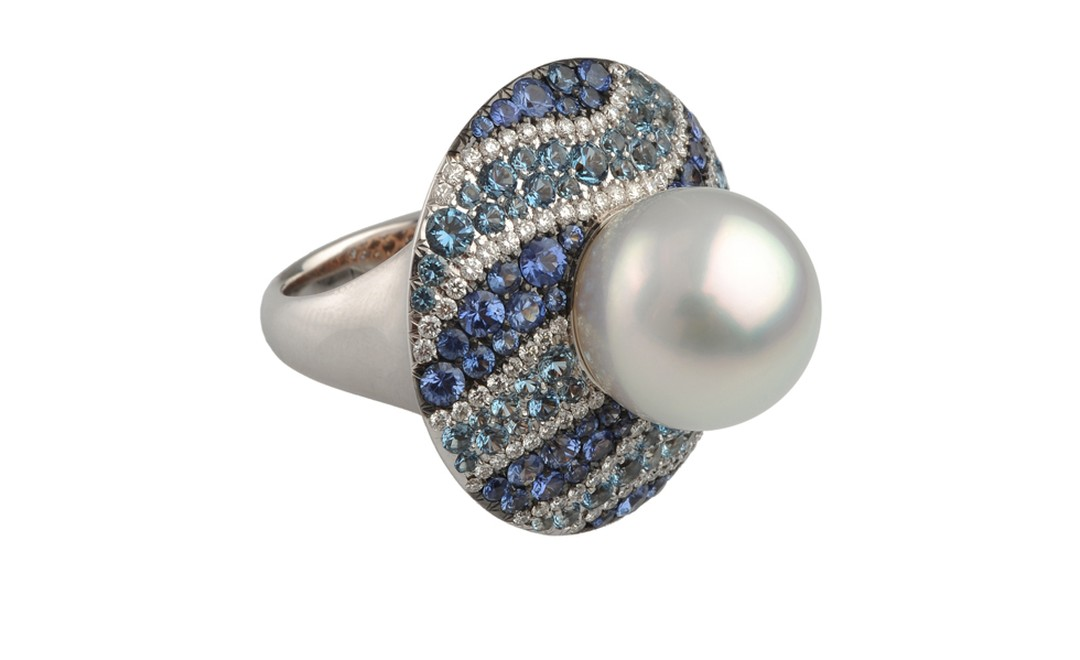 Autore, Fire & Ice Iceberg white gold, South Sea pearl, diamond, blue sapphire and aquamarine ring. $25,500 AUD