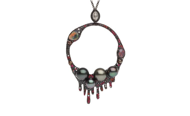 Autore, Fire & Ice Lava Flow pendant in titanium and white gold, with black rhodium, Tahitian South Sea pearls, orange sapphires, red spinel, black opals, rustic look, black and white diamonds. $75,000 AUD