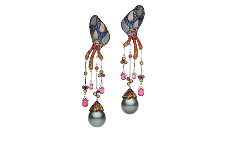 Autore, Fire & Ice Santorini Earrings in white and rose gold with Tahitian South Sea pearls, black and yellow diamonds, purple, blue, yellow and orange sapphires, pink tourmaline and black opal. $55,000 AUD