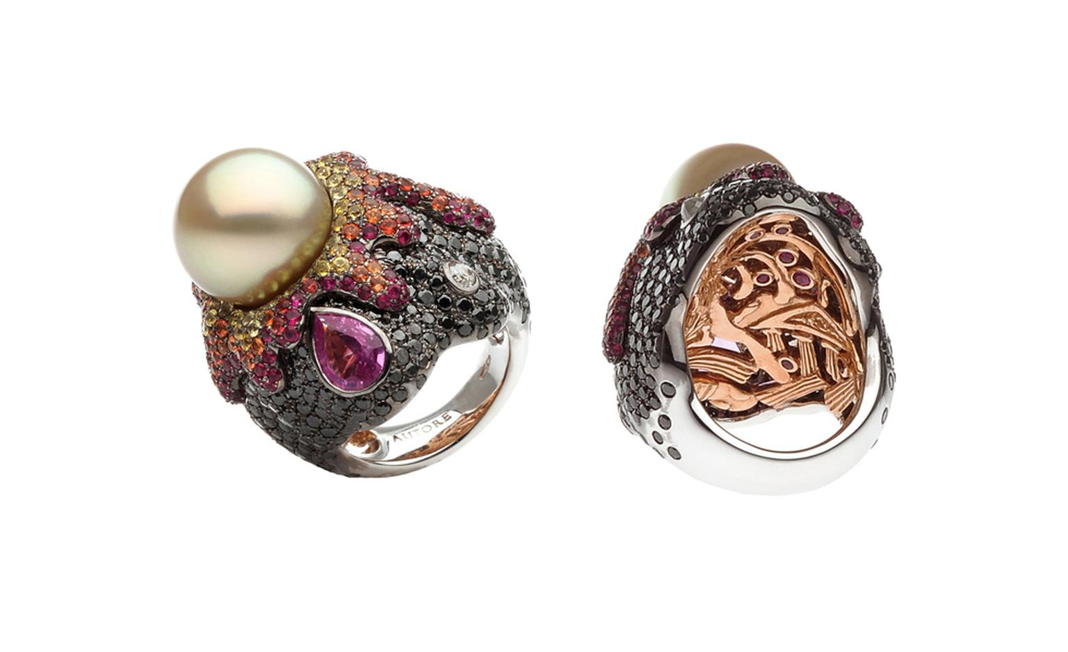 Autore, Fire & Ice Vesuvio Ring in white and rose gold, with South Sea pearl, rubies, pink, orange and yellow sapphires, black and white diamonds. $60,000 AUD