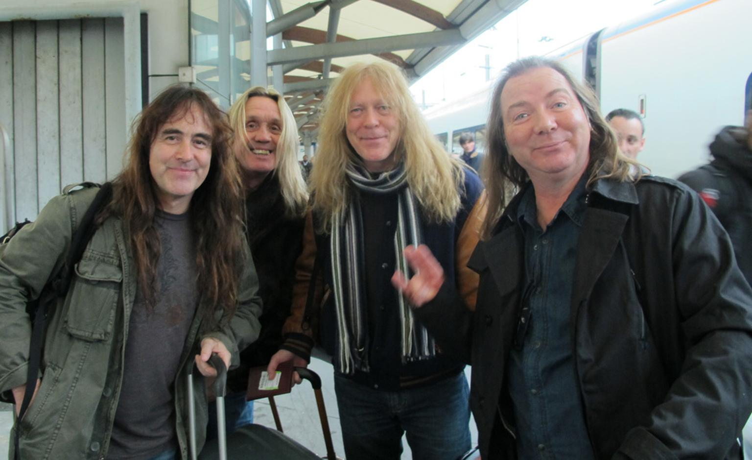 Iron Maiden coming off the Eurostar in Paris, 26th January 2011