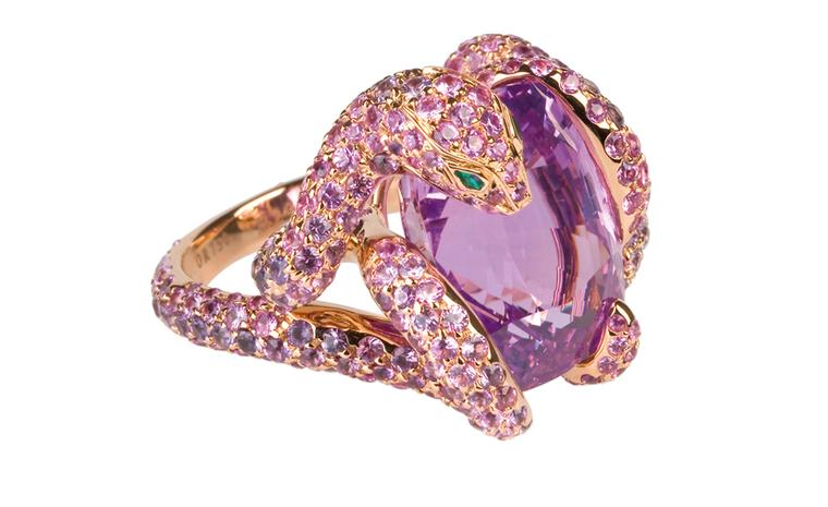 Boucheron Python ring with a Ceylon pink 17.36 carats cushion cut sapphire and 330 pink and 51 purple sapphires set into rose gold. Price: £244,000