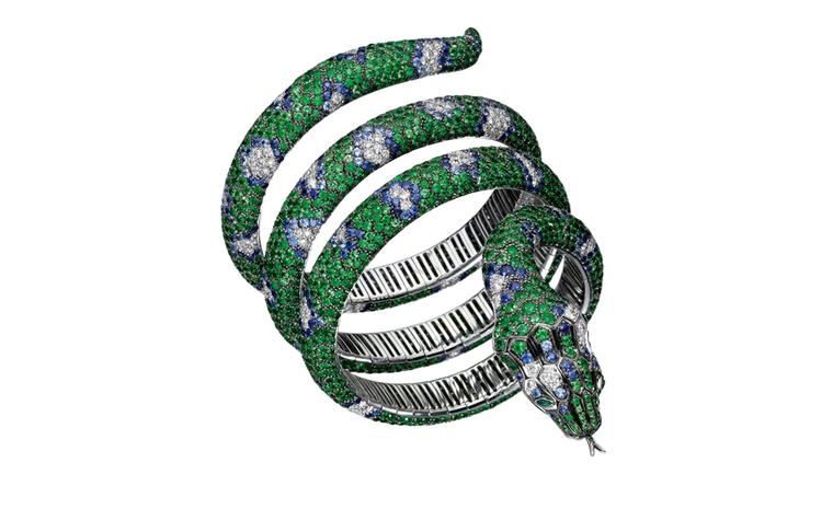 Boucheron Python Bracelet with 700 tsavorites, 440 sapphires and  120 diamonds in white gold. Price: £166,000