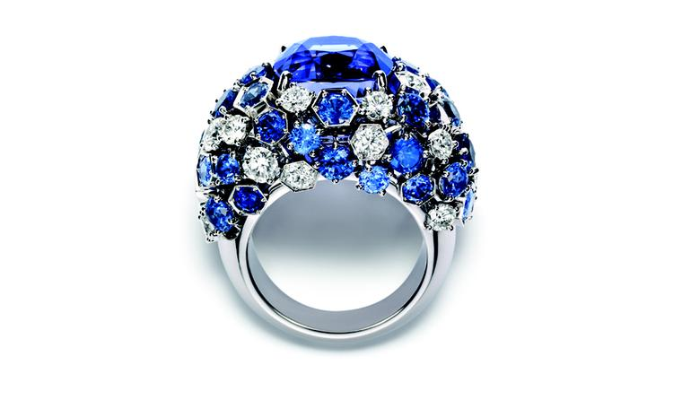 Chaumet Bee My Love ring with sapphires, diamonds and and a very special violet sapphire at the centre.