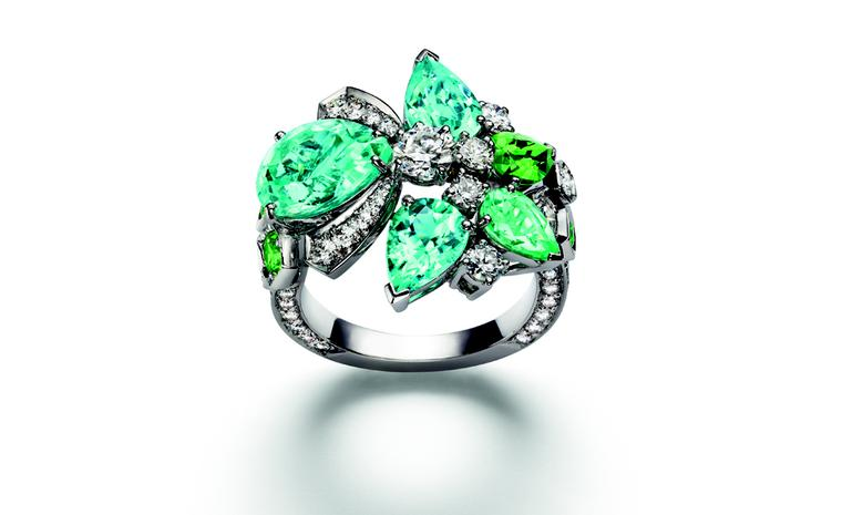 Chaumet Bee My Love ring with diamonds, tourmalines and tsavorite garnets.