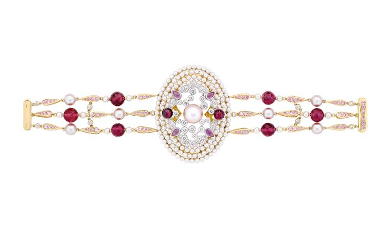 Chanel Secrets D'Orient  Byzance Bracelet in 18 karat white and pink gold, diamonds, cultured pearls, pink sapphires and rubellites