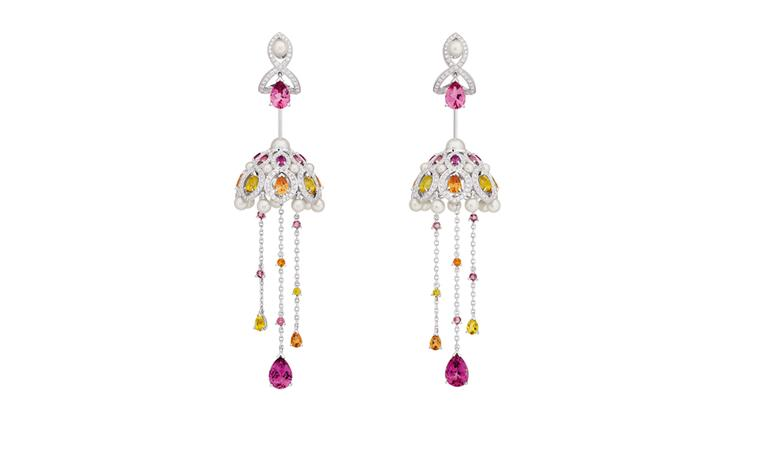 Chanel Secrets D'Orient Coupoles Earrings in 18 karat white gold, diamonds, cultured pearls, rebellites, pink tourmalines, garnets and citrines. POA