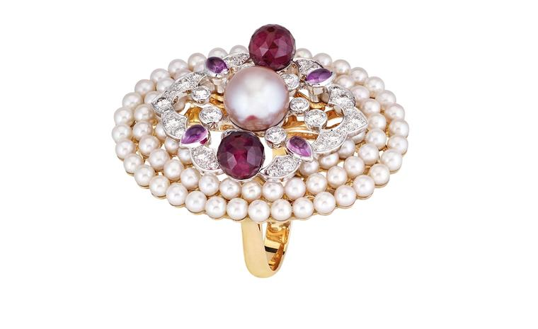 Chanel Secrets D'Orient Byzance Ring in 18 karat white and pink gold, diamonds, cultured pearls, pink sapphires and rubellites. POA