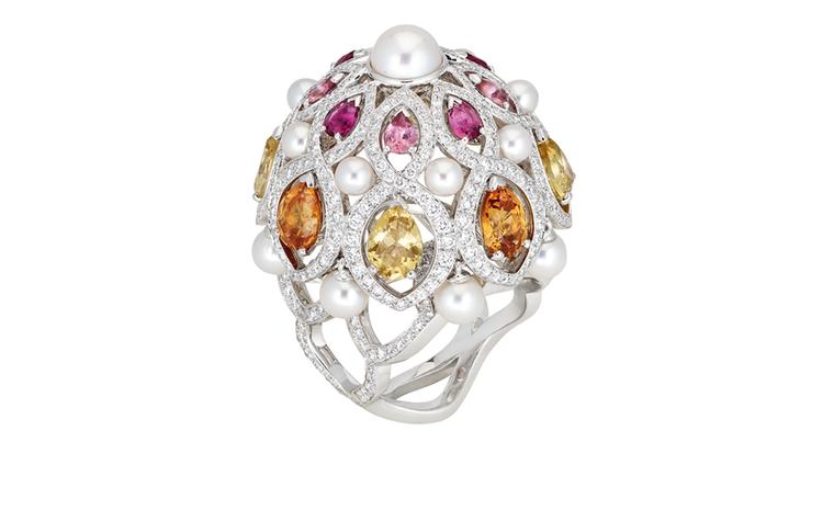 Chanel Secrets D'Orient Coupoles Ring in 18 karat white gold, diamonds, cultured pearls, rebellites, pink tourmalines, garnets and citrines. POA