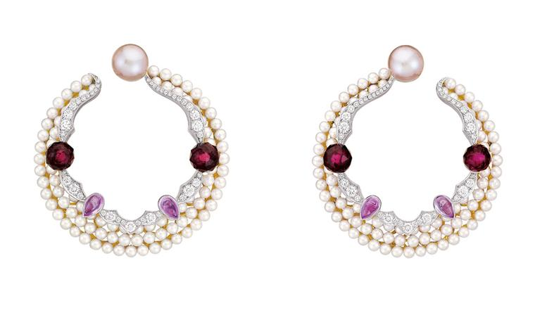 Chanel Secrets D'Orient Earrings in 18 karat white and pink gold, diamonds, cultured pearls, pink sapphires and rubellites. POA