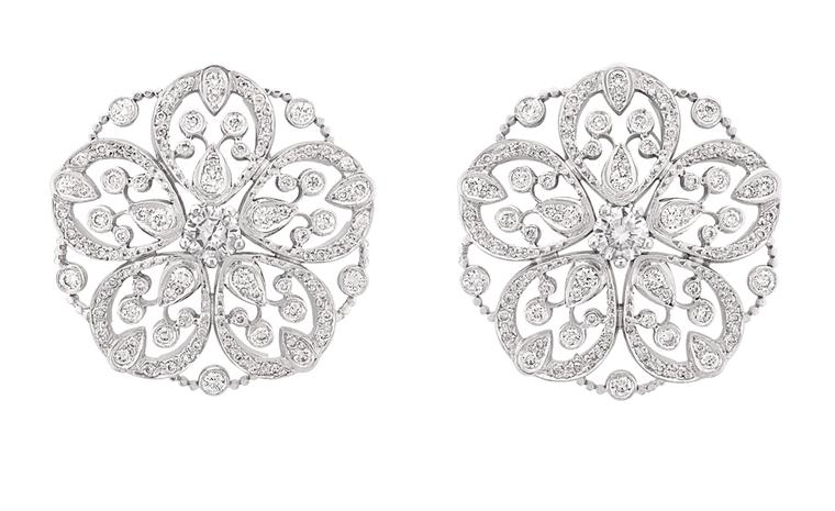 Chanel Secrets D'Orient Camelia Dentelle Earrings in 18 karat white gold and diamonds. POA