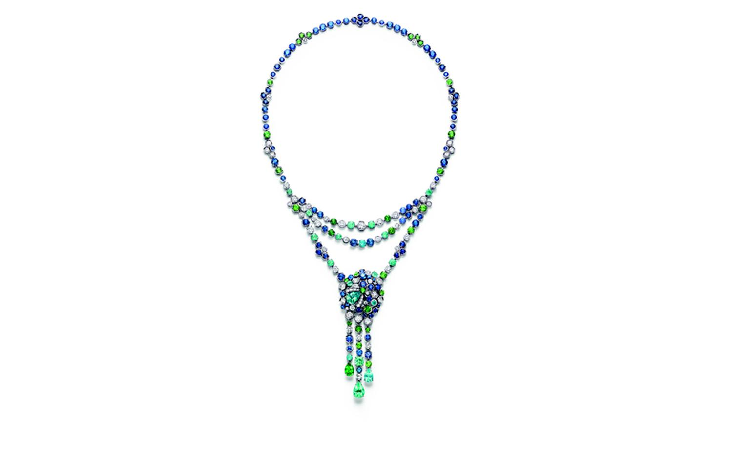 Chaumet Bee My Love necklace with diamonds, tourmalines, tsavorite garnets and sapphires cascades down the neck. The two outer pendant drops can be detached and worn as earrings.  e
