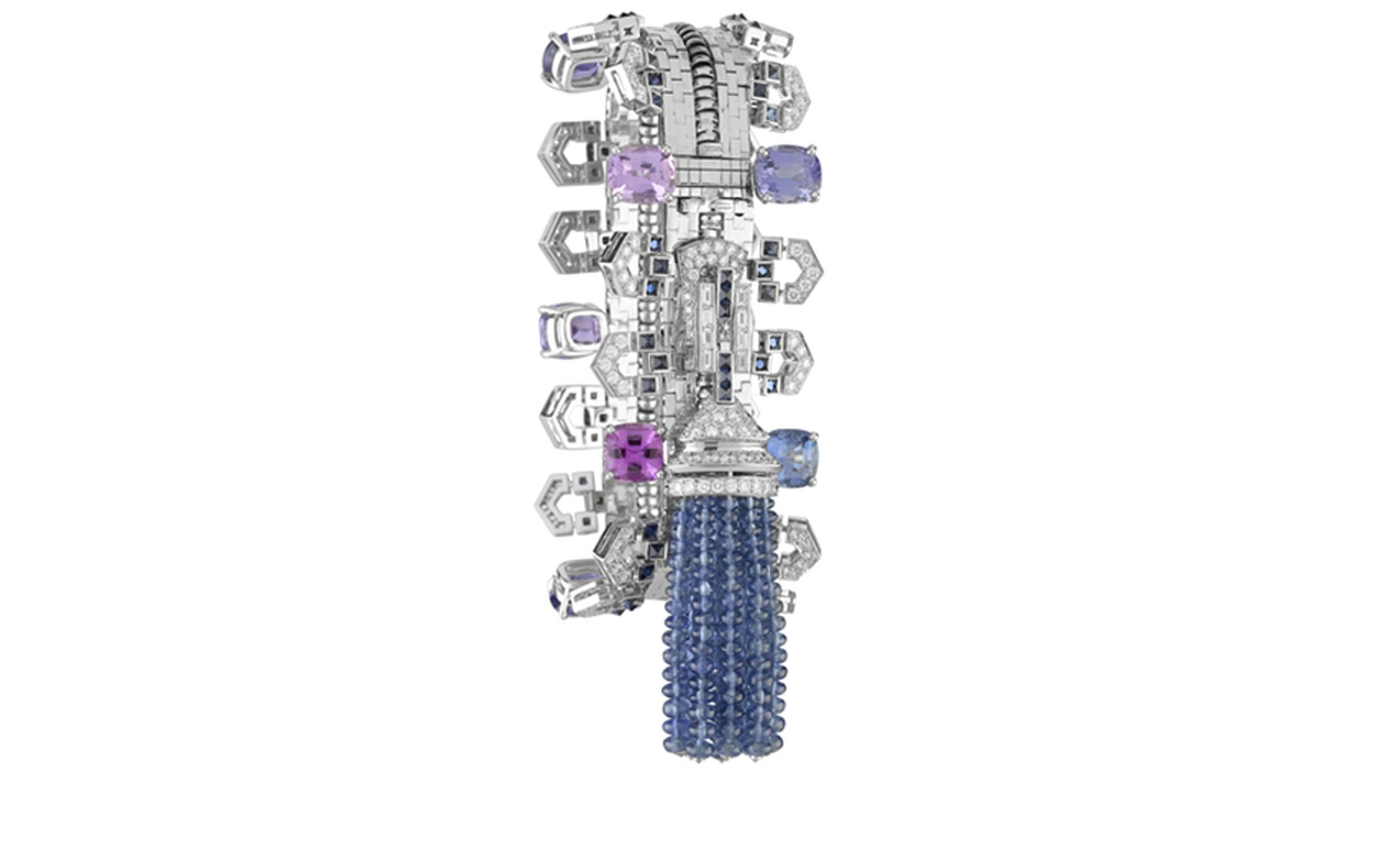 Van Cleef & Arpels Zip necklace in white gold set with diamonds, cushion-cut multicoloured sapphires and sapphires.  Worn as a bracelet. POA