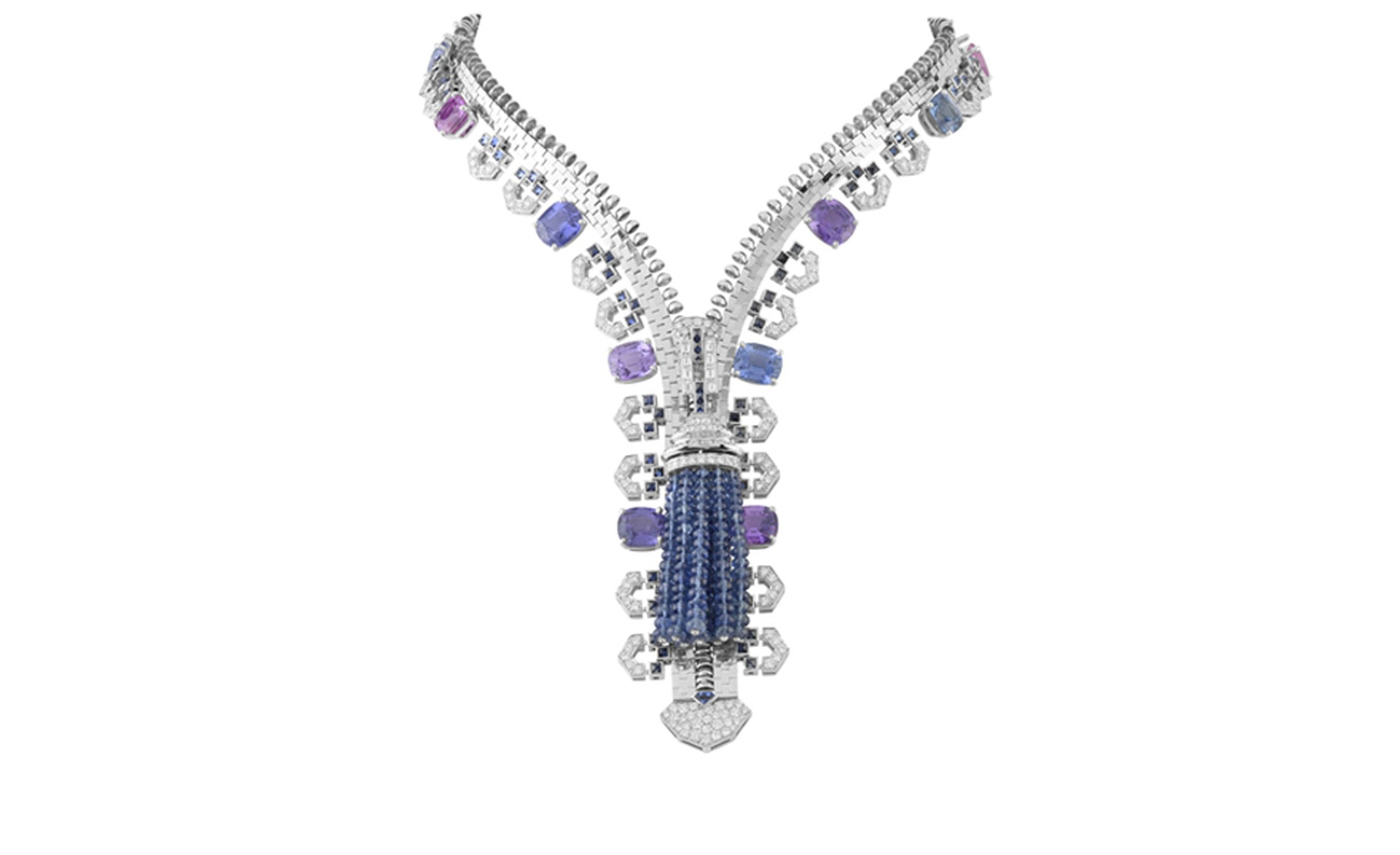 Van Cleef & Arpels Zip necklace in white gold set with diamonds, cushion-cut multicoloured sapphires and sapphires. POA