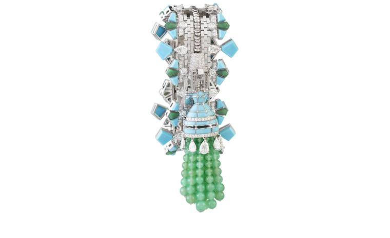 Van Cleef & Arpels Zip necklace in white gold set with diamonds, turquoise, chloromelanite and chrysophrase.  Worn as a bracelet. POA