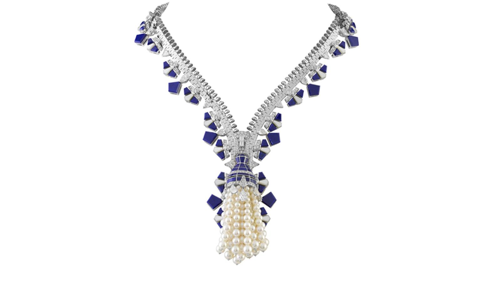 Van Cleef & Arpels Zip necklace in white gold set with diamonds, white cultured pearls, white mother-of-pearl and lapis lazuli. POA