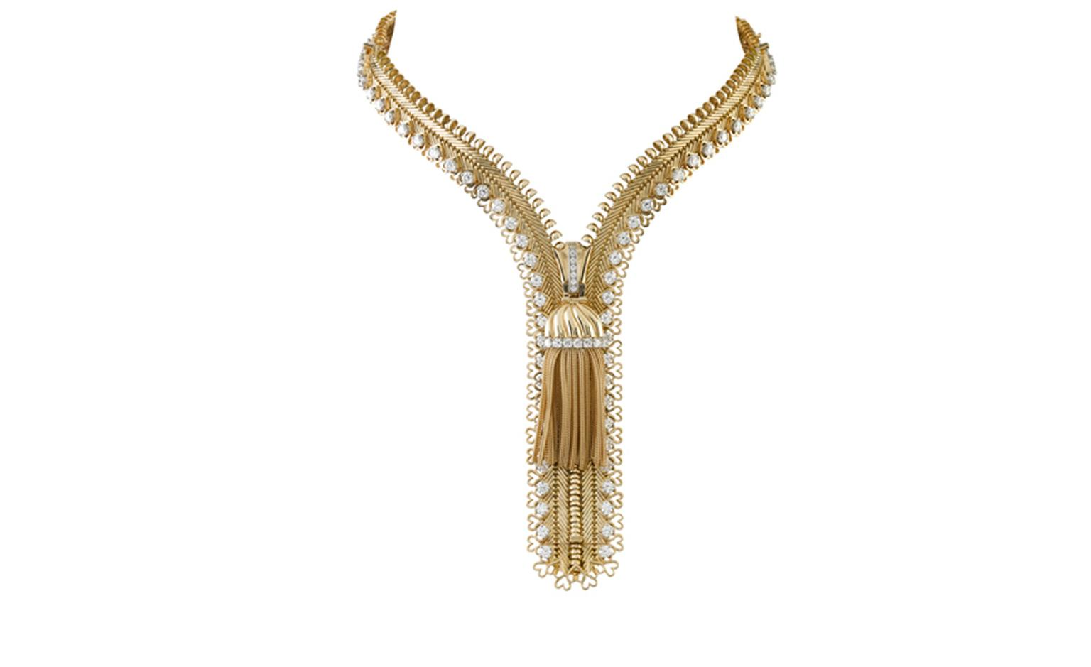 Van Cleef & Arpels, Zip Antique Necklace, yellow gold and round cut diamonds. POA