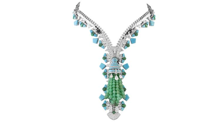 Van Cleef & Arpels Zip necklace in white gold set with diamonds, turquoise, chloromelanite and chrysophras. POA