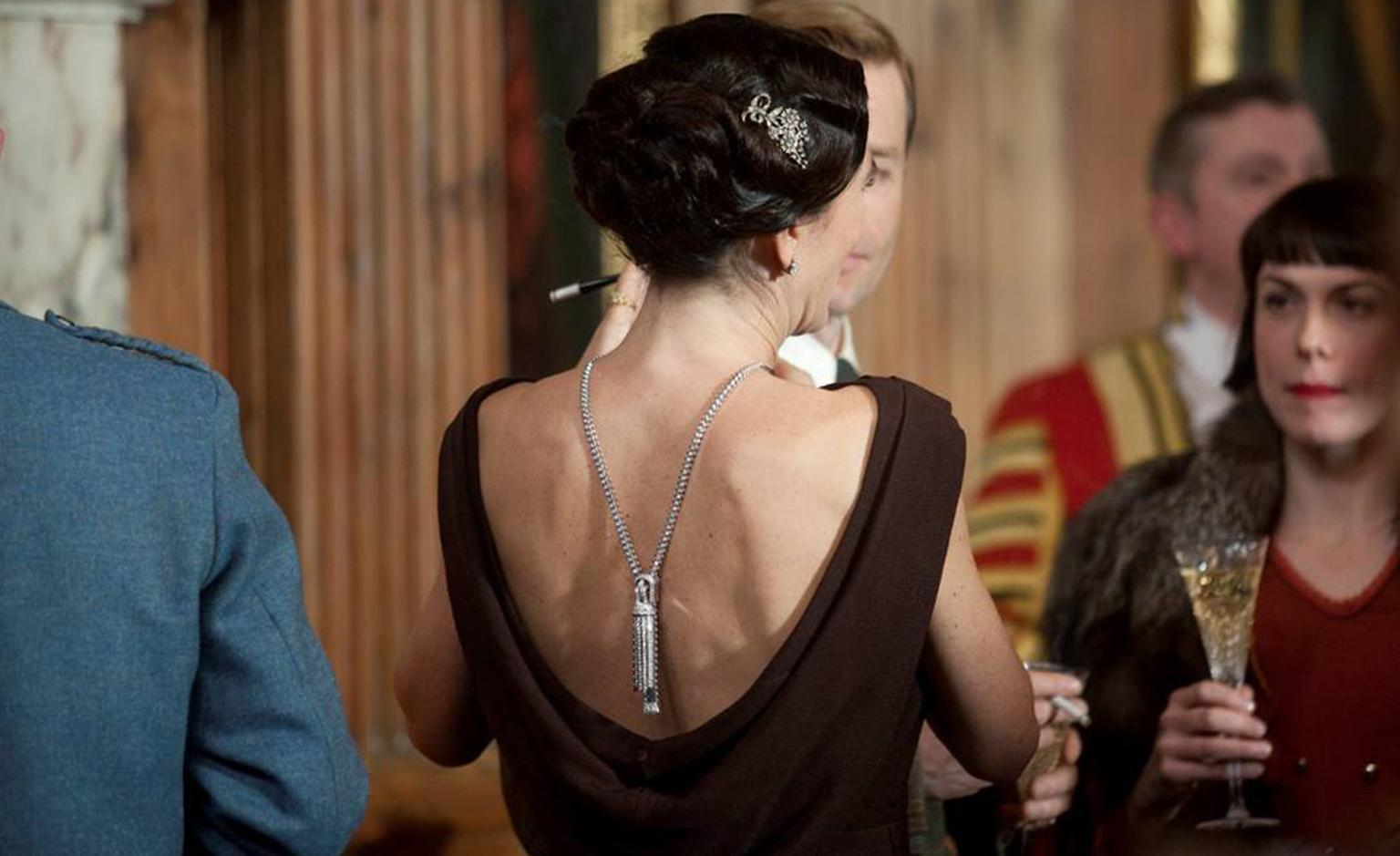 Eve Best, as the Duchess of Windsor, wearing Van Cleef & Arpels Zip Necklace in The King's Speech