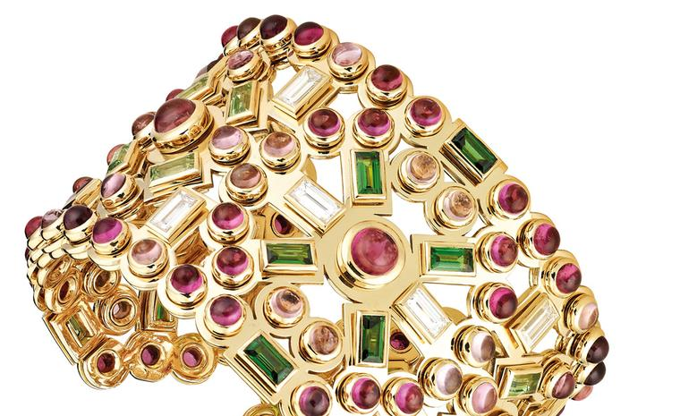 Chanel's Persane cuff is rich with an array of coloured stones. Each of the stones is set so that they tremble with the slightest move of the wrist - a very pleasing sensation.