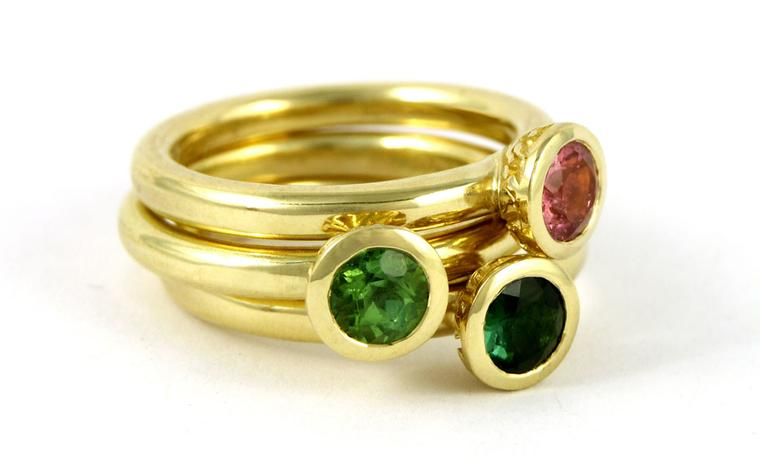 Nina stack rings that will be available in Fairtrade gold
