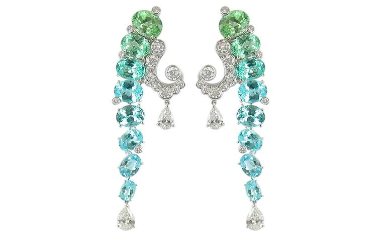 Van Cleef & Arpels Evenor earrings worn by Miranda Richardson at the BAFTAs 2011
