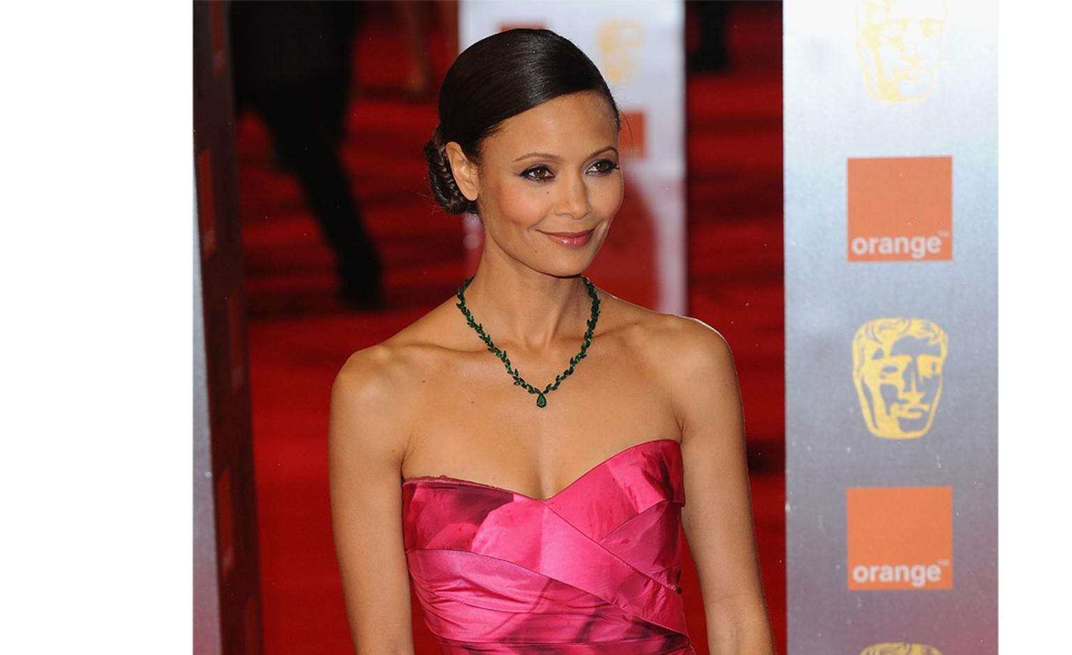 Thandie Newton wears Solange Azagury-Partridge emerald necklace at BAFTAs 2011