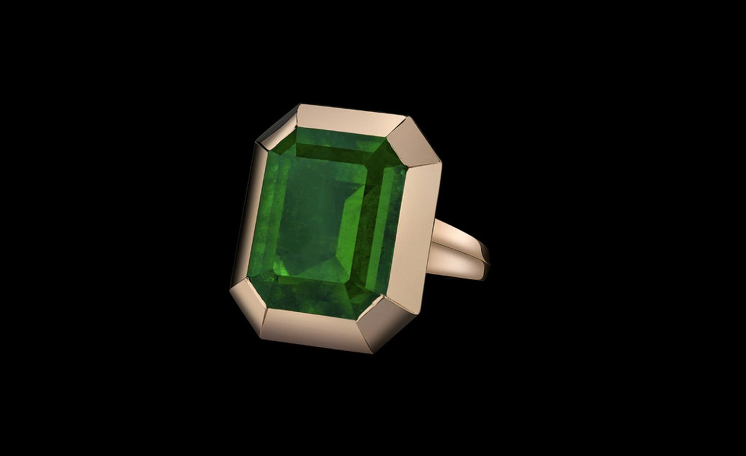 Front view of the emerald tablet ring from the Style of Angelina collection to go on sale later this year. Proceeds will benefit Jolie's charity The Education Partnership for Children of Conflict.