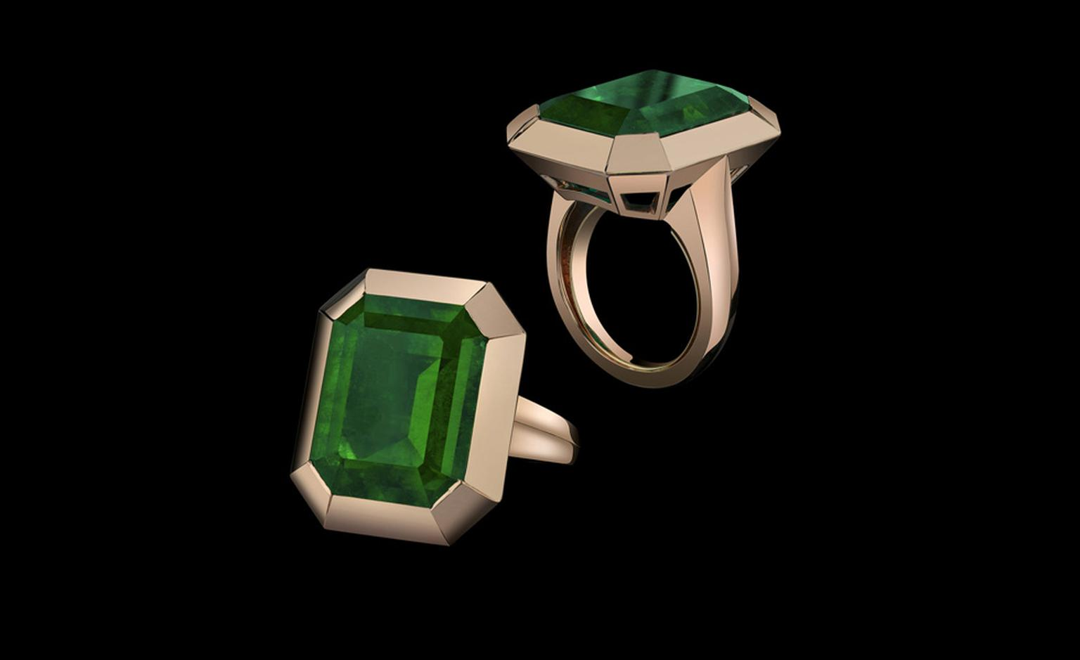 Two views of the emerald tablet ring from the Style of Angelina collection to go on sale later this year. Proceeds will benefit Jolie's charity The Education Partnership for Children of Conflict.