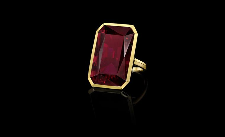 Tablet faceted rubellite ring designed by Angelina Jolie with Robert Procop from the Style of Angelina collection to go on sale later this year. Proceeds will benefit Jolie's charity The Education Partnership for Children of Conflict.